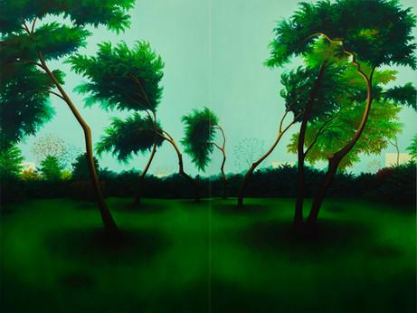 nous danserons un jour ensemble, huile sur toile, 195 x 260 cm, 2020. ( Dyptique )