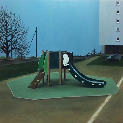 urbanités - 04, huile sur bois, 30 x 30 cm, 2015. Collection de l'Artiste.