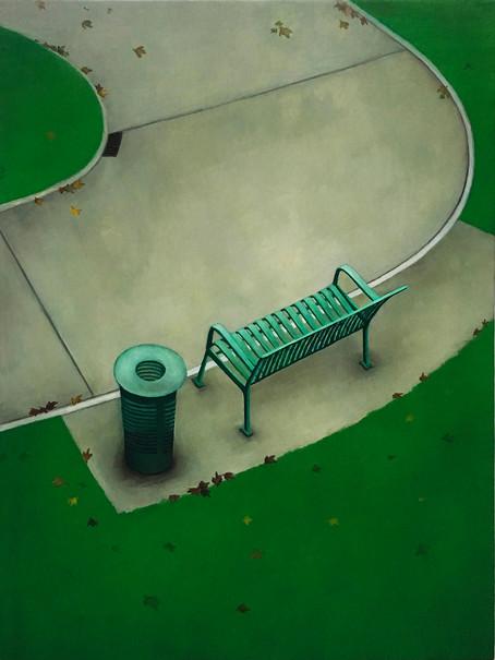 urbanités - 22, huile sur bois, 30 x 40 cm, 2018