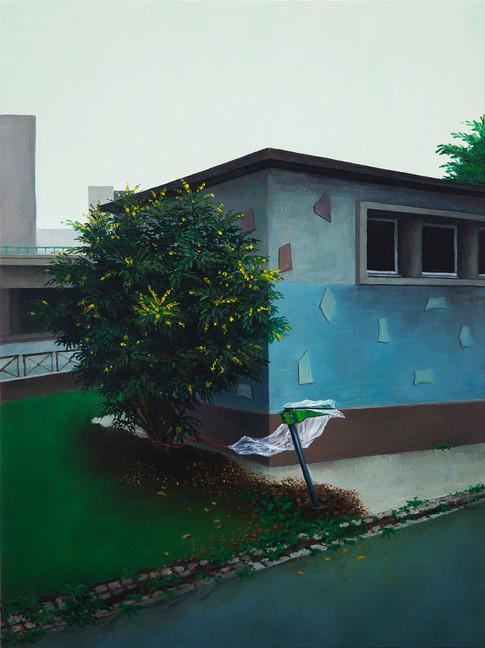 urbanités - 18, huile sur bois, 30 x 40 cm, 2018