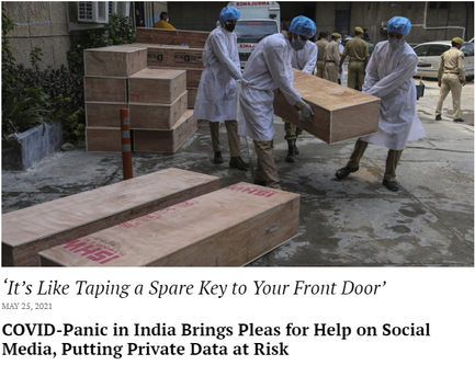 COVID-Panic in India Brings Pleas for Help on Social Media, Putting Private Data at Risk