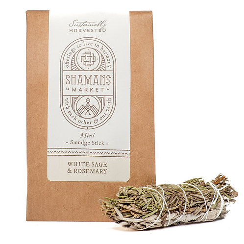 White Sage & Rosemary Smudge Stick (4 inch)