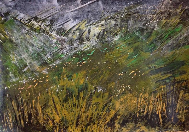 'Grass Bank In Mist' Original Painting