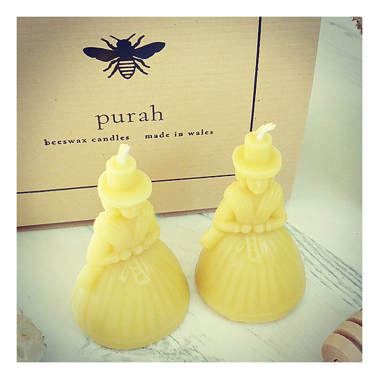 Pair of Welsh Lady Beeswax Candles