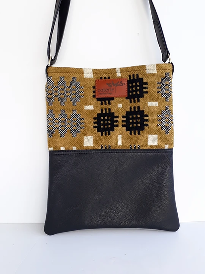 Leather & Welsh Wool Messenger - Mustard