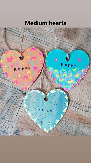 Hand Painted Wooden Hanging Heart