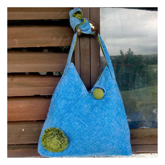 Origami Bag in Sky Blue tweed