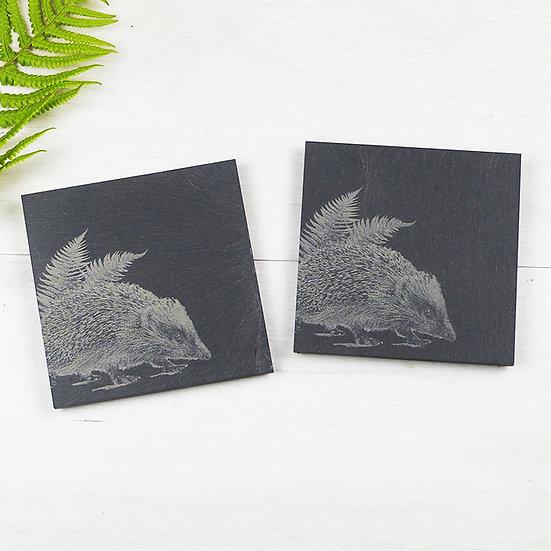 Four Clean-cut Welsh Slate Hedgehog Coasters