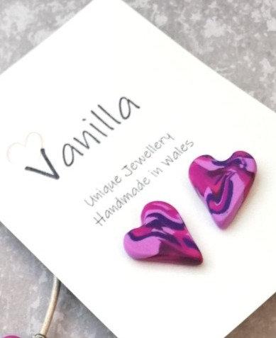 Fuchsia Heart Stud Earrings