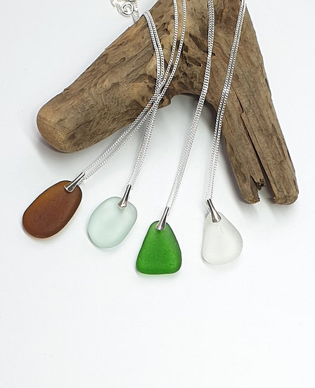 Simple Sea Glass Pendant and Sterling Silver Chain