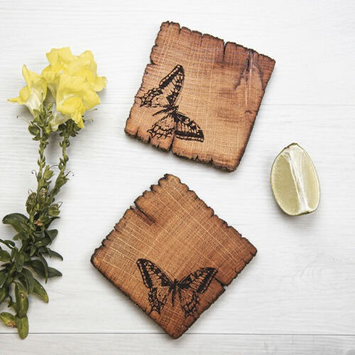 Rustic Butterfly Coasters (Pack of 4)