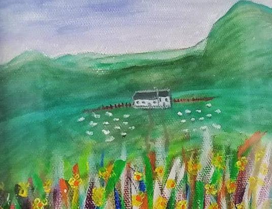 'Ty ar y mynydd' Original Acrylic Painting by Celf Young Art.