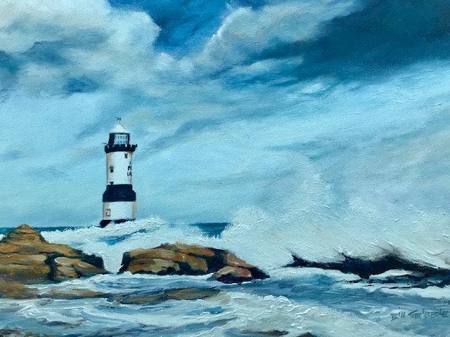 'Penmon Lighthouse' Original Oil Painting