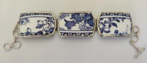 Blue & White Harebell 3 Piece Cuff Bracelet