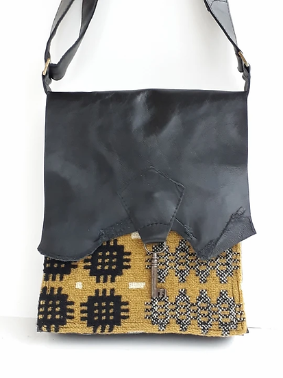 Raw Edge Leather & Welsh Wool Bag with Vintage Key Detail - Mustard & Black