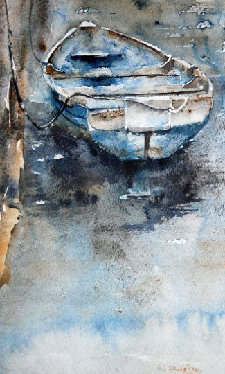 'Blue Boat' Limited Edition Mounted Print