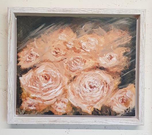 'Peach Avalanche Rose I' Original Acrylic Painting-Framed
