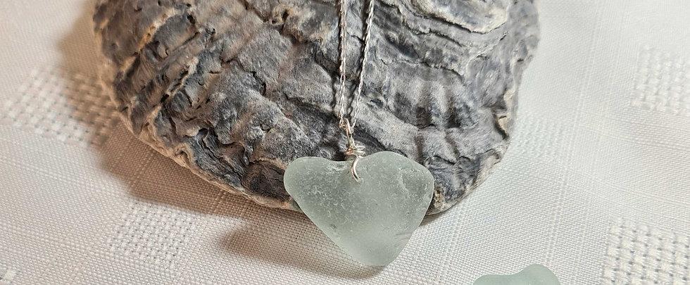 Aqua Sea Glass Natural Heart Shape Silver Necklace