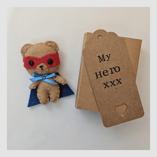 Miniature Felt Superhero Teddy in a Matchbox