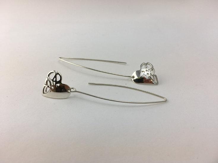 Heart Shape Silver Long Drop Earrings