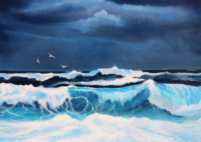 'Night Flight Llandudno' Original Oil Painting