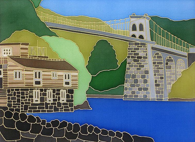 'Bridge House Menai Bridge' print of an original silk painting