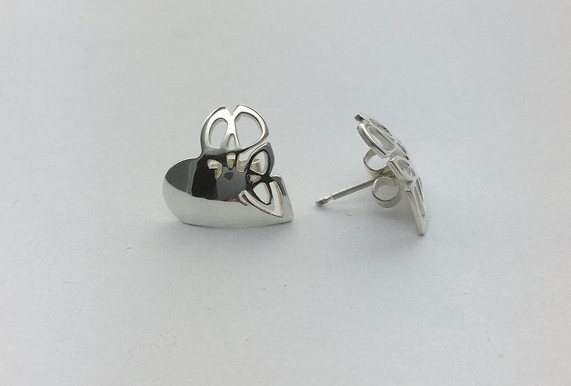 Heart Shape Silver Stud Earrings
