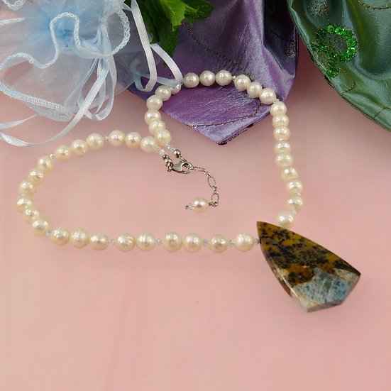 Apatite Pendant With White Freshwater Pearls
