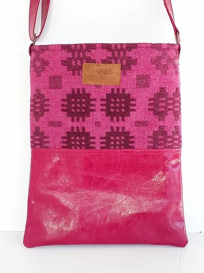 Leather & Welsh Wool Messenger - Fushcia