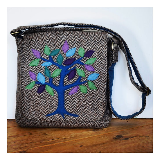 Messenger Bag with Tree of Life Appliqué