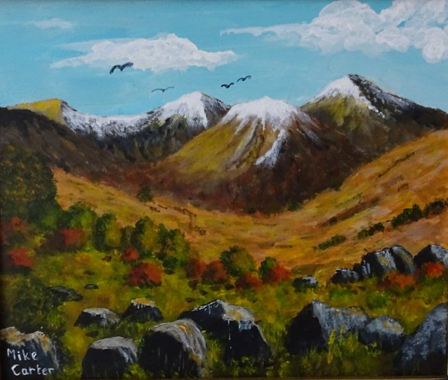 'Buzzards over Snowdonia' Original Oil Painting