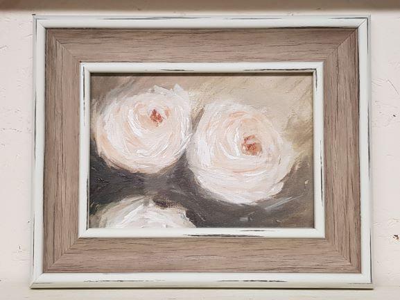 'Cream Roses' Original Acrylic Painting-Framed