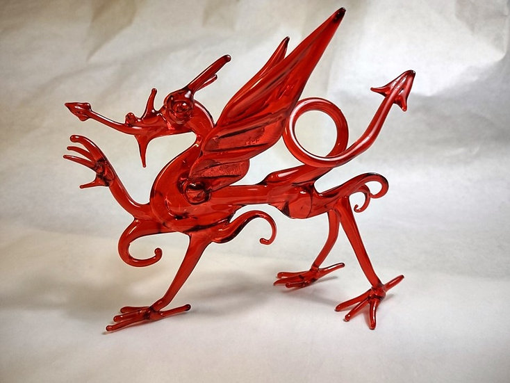 Glass Red Heraldic Welsh Dragon - y Ddraig Goch.