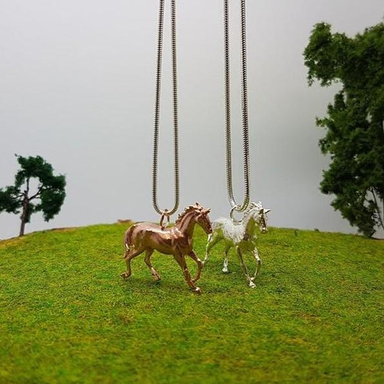 Large Silver Horse Necklace