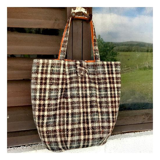 Market Bag in Brown and Natural tweed