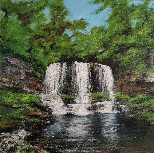 'Sgwd Yr Eira' The Curtain Waterfall-Original Acrylic Canvas 40x40cm