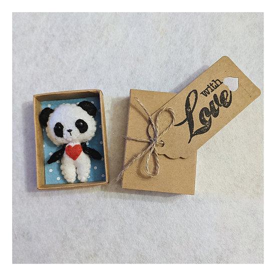 Miniature Felt Panda in a Match Box