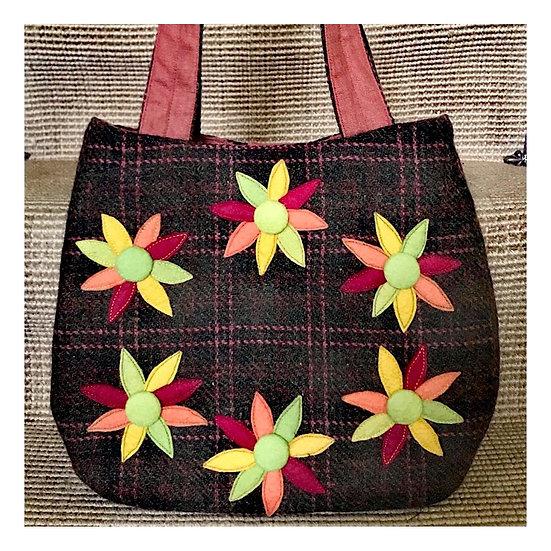 About Town Bag with Appliqué Felt Flowers