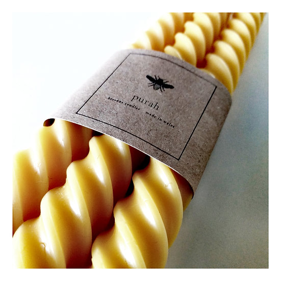 Trio of Tall Twisted Taper Beeswax Candles