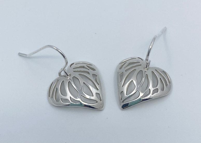 Heart Shape Sterling Silver Short Drop Earrings