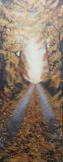 'Golden Walk' Original Acrylic Canvas 20x50cm.
