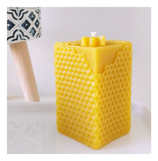 Pair of Honeycomb Design Beeswax Candles