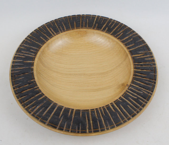 Wide Shallow Oak Bowl with Bark Effect