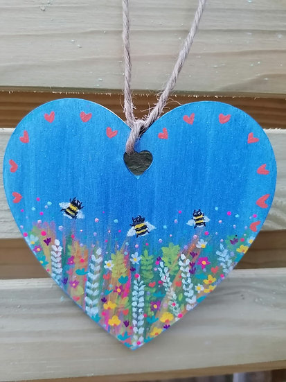 Hand Painted Bee Wooden Hanging Heart