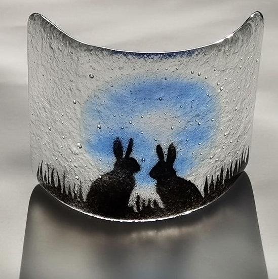 Blue Moon Hares - Mini Glass Curve