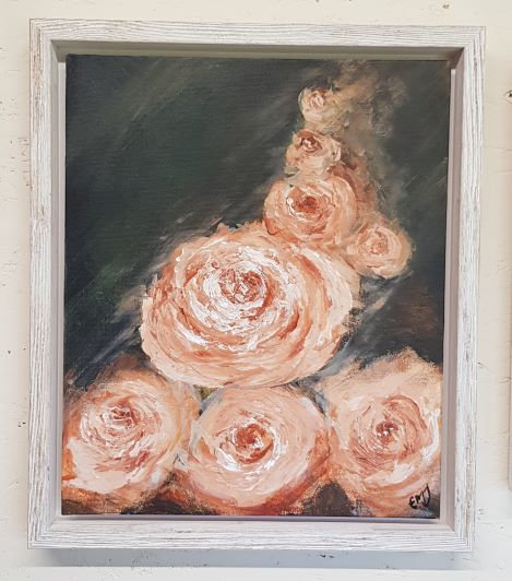 'Peach Avalanche Rose II' Original Acrylic Painting-Framed