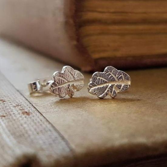 Tiny Silver Oakleaf Studs