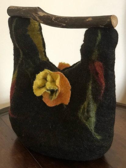 Merino and Driftwood Felt Bag -Yellow