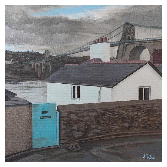 'Menai Bridge from Cambria Road', Menai Bridge, Anglesey Print