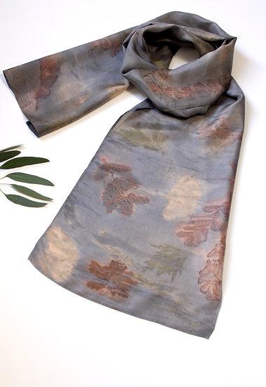 Delicate Silk Scarf-Inky Blue Rust